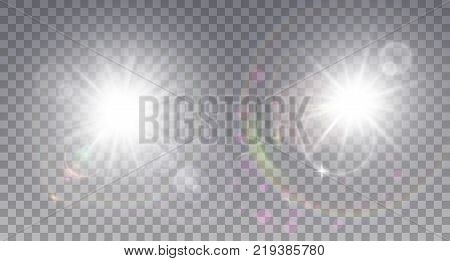 Two white sun with lens flare. Colorful realistic particles, sparkles and halo. poster