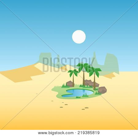 Desert oasis background. Egypt hot dunes with palm trees