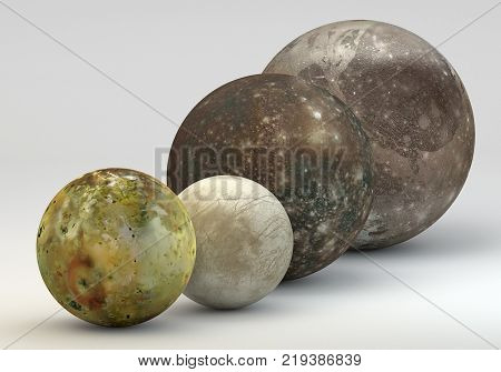 This image represents the comparison between the moons of Jupiter in size comparison in a precise scientific design.