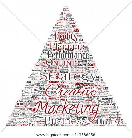 Conceptual development business marketing target triangle arrow word cloud isolated background. Collage advertising, strategy, promotion branding, value, performance planning or challenge
