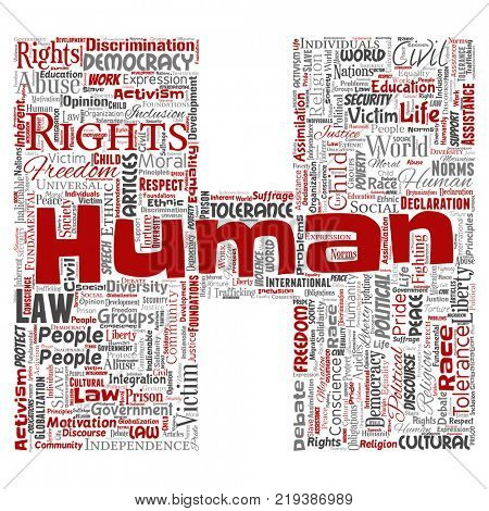 Conceptual human rights political freedom, democracy letter font H word cloud isolated background. Collage of humanity tolerance, law principles, people justice or discrimination concept