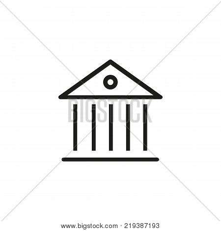 Line icon of ancient building. Museum, bank, government building. Building concept. Can be used for topics like construction, art, architecture