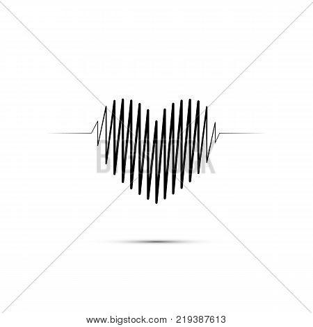 Heart shape electrocardiogram. Black heart shape line on white background