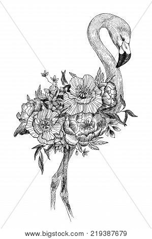 Flower bouquet with tropical bird, eucaliptus, peony and anemone, flamingo. High detailed hand drawing illustration