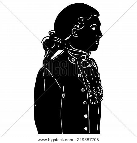 Attractive male silhouette in antique european costume of 18th-19th century. Graphic elegant portrait of young aristocrat, cavalier for design, illustrations, banners, decoupage, scrapbook, prints