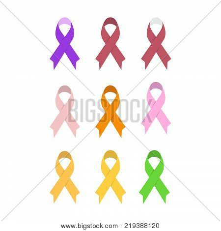 Awareness ribbons symbolizing support of various social causes and research for finding cures for cancers and disease