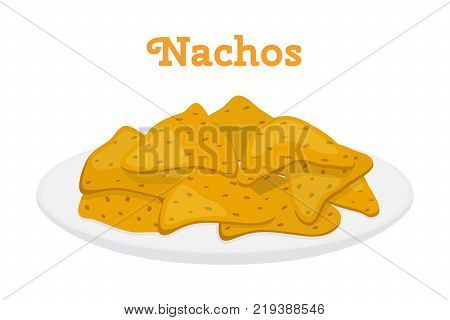 Nachos mexican chips, spicy fast food on plate. Made in cartoon flat style. Vector illustration