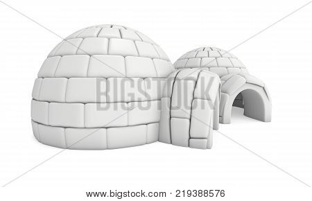 Igloo icehouse isolated on white background 3d render illustration. Snowhouse or snowhut. Eskimo shelter built of ice