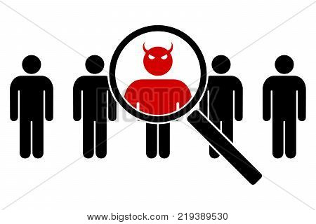 The devil in the guise of a man. The deceptive form of a man. Vector illustration.