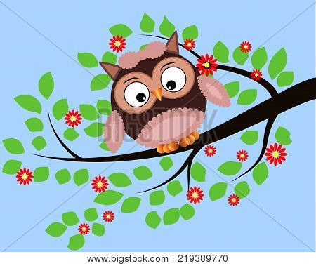 Bright cute cartoon owl sit on the flowering branches of fantastic tree