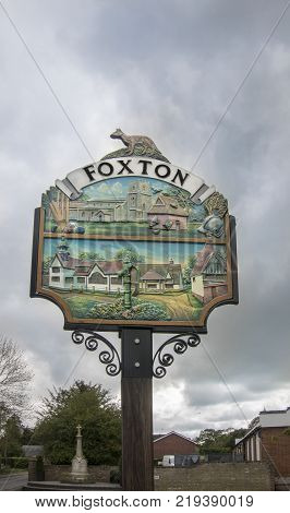 FOXTON, CAMBRIDGESHIRE, UK, 1ST MAY 2017 - The sign of Foxton village Foxton Cambridgeshire UK