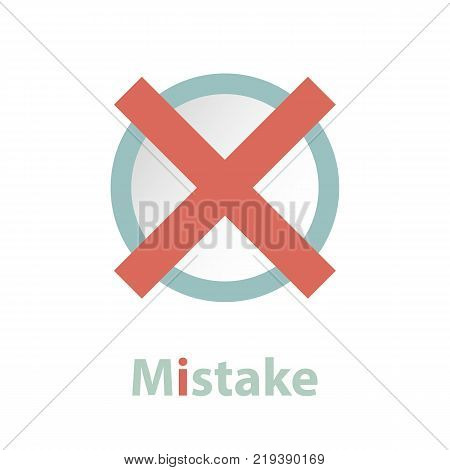 Red check mark icon in a circle. Cross symbol in red color. Vector illustration.