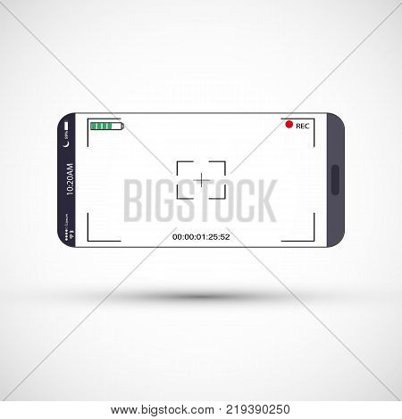 Mobile phone screen with camera viewfinder. Smartphone with focusing screen background. Vector illustration