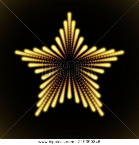 Vector infinite star tunnel of shining flares on orange background. Glowing points form tunnel sectors.