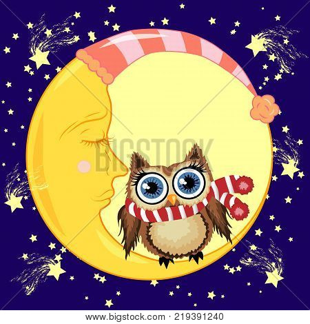 A lovely cartoon brown owl in a red scarf sits on a drowsy crescent moon against the background of the night sky with stars