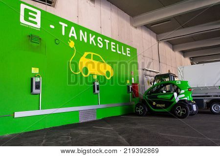 Schladming, Austria - August 15: Renault Twizy Electric City Car Stands At Energie Steiermark Charch
