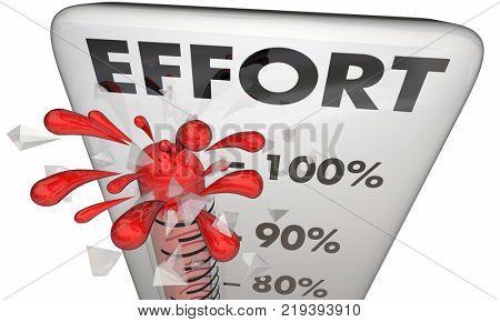 Effort Thermometer Total 100 Percent Work Task 3d Illustration poster