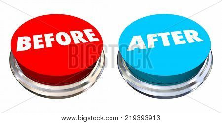 Before and After Button Change Improvement 3d Illustration
