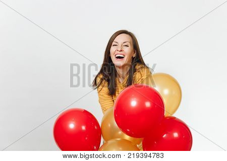 Beautiful Caucasian Fun Young Happy Woman In Yellow Clothes And Birthday Party Hat With Brown Long H