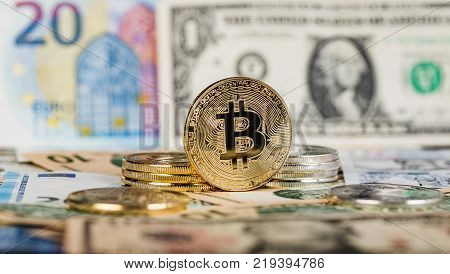 Bitcoin Virtual Currency. Trading with Bitcoin. The risk of buying a virtual currency. Crypto Currency background concept various banknotes in the background