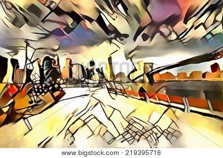 The interpretation of abstract city skyline of new York's avant-garde