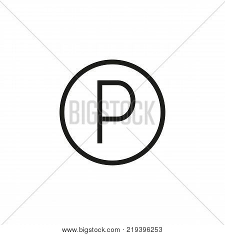 Line icon of parking sign. Traffic regulation, private car park, Roadsigns concept. Can be used for signboards, poster, brochure pictograms