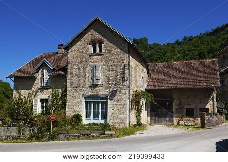 Architecture of Baume-les-messieurs in the Jura Franche-Comte France