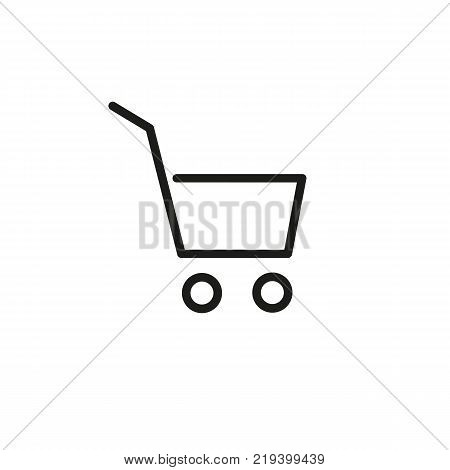 Line icon of shopping cart. Online shopping, supermarket, cart place. Shopping concept. Can be used for web pictograms, design and application icons