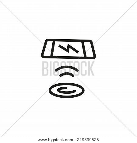 Line icon of telephone and charging pad. Wireless charger, phone battery, charging station. Wireless technology concept. Can be used for web pictograms, design and application icons