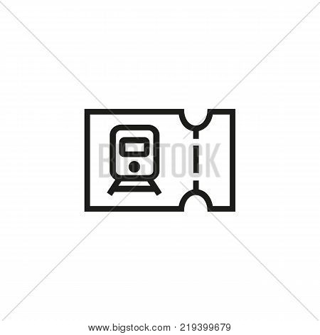 Line icon of train ticket. Ticket control, railway ticket office, railway station. Transport and travel concept. Can be used for web pictograms, design and application icons