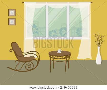 Rocking chair on a window background in yellow room. There is also a coffee table, a vase with decorative branches and pictures frames in the image. Vector illustration