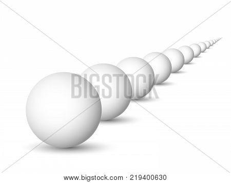 Endless row of white spheres, balls or orbs. 3D vector objects with dropped shadow on white background.