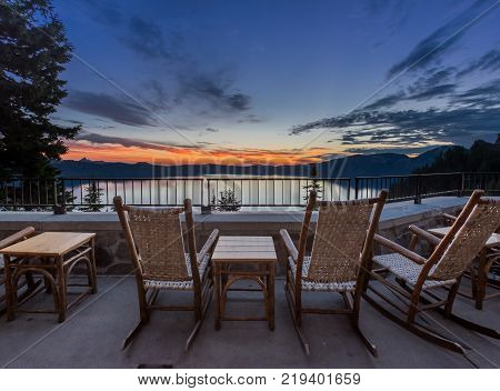 Rocking Chairs and Table Overlook Crater Lake Sunrise