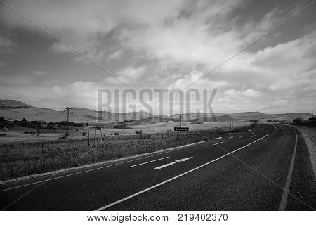 Road Countryside Scenic road highway over rural hills countryside landscape
