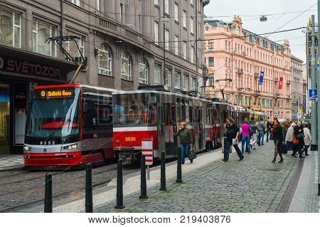 Trams public transport on the street. Daily life in the city. Everyday life in Europe. Prague, Czech Republic - 23 September 2013.