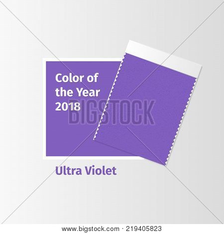 Fabric samples, textile swatch template for interior design mood board with Ultra Violet 2018 Color of the year. Trendy color palette, purple piece of fabric. Vector illustration for blog posts