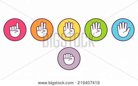 Hand icons with finger count. Colored buttons with gesture symbols counting by bending fingers. Vector flat style clip art illustration.