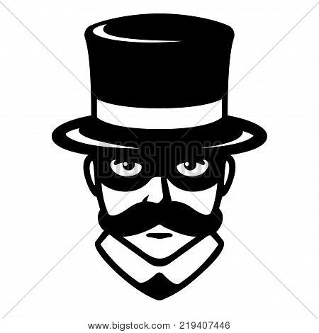 Incognito man in carnival mask. Gentleman with mustache in top hat and hidden face. Vintage logo vector illustration.