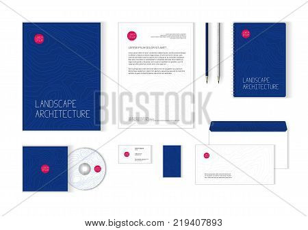 Corporate identity template for landscape design, architecture company. Stationery template design for real estate business. Brochure cover, letterhead, envelope, business card, CD cover.