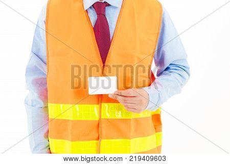 Young Confident Asian Man, Orange Safety Hat, Orange Safety Jacket, Safety Glass, Red Tie, Blue Shir