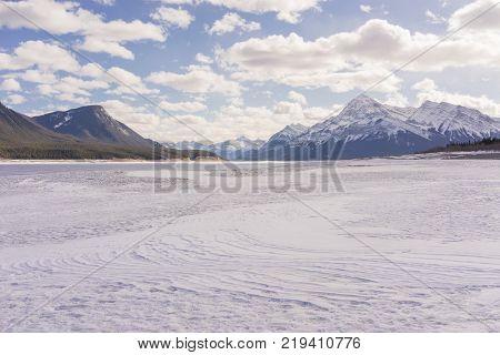 Snowy winter landscape of Abraham Lake Alberta Canada.