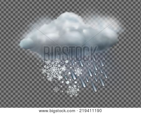 Vector illustration of cool single sleet weather icon with cloud snow and rain on transparent background