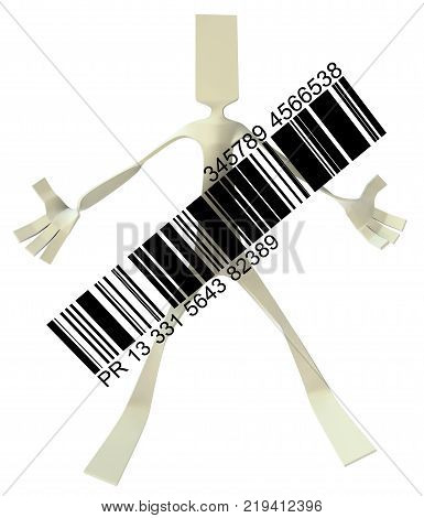 Paper man symbolic figure pose standing with bar code 3d illustration horizontal isolated