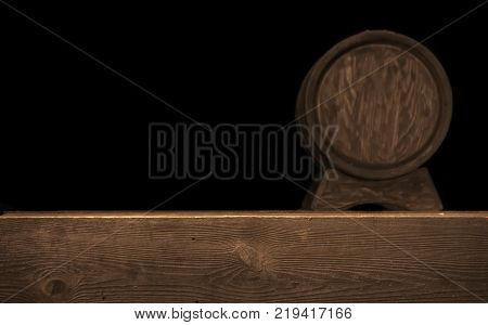 Rustic Blurred Wooden Barrel On A Night Background