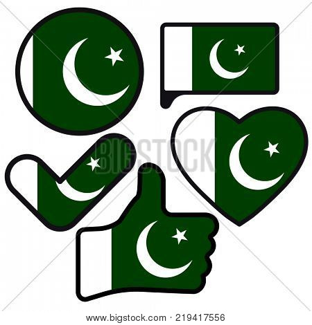 Flag of Pakistani in the shape of Button, Heart, Like, Check mark, flat style, symbol of love for his country, patriotism, icon for Independence Day.
