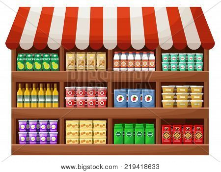 Product farmer shop. Counter with products. Vector