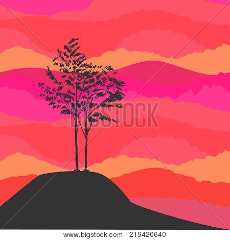 Hand drawn black tree without leaves isolated on foggy smoky misty background. Branches of small rowan sorb wild ash plant on vector illustration. Simple sketch.