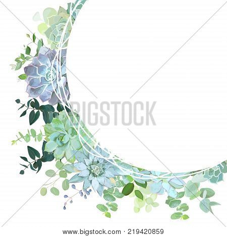 Herbal mix round vector frame. Hand painted plants, branches, leaves, succulents on white background. Echeveria, eucalyptus, greenery. Natural card design. All elements are isolated and editable.