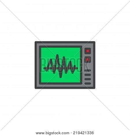 Heartbeat screen filled outline icon, line vector sign, linear colorful pictogram isolated on white. Electrocardiogram symbol, logo illustration. Pixel perfect vector graphics