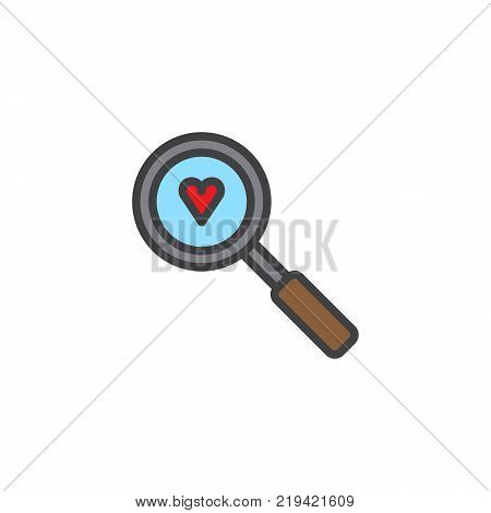 Heart with magnifying glass filled outline icon, line vector sign, linear colorful pictogram isolated on white. Love search symbol, logo illustration. Pixel perfect vector graphics